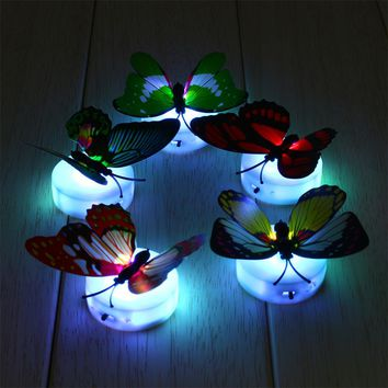 1pcs Colorful Butterfly Night Light Baby Kids Room Wall Lights Party Decor LED Night Indoor Lighting Decorations