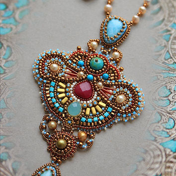 Bright necklace in Oriental style, Bead Embroidered Necklace