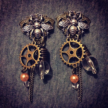 Steampunk plug toppers for gauged ears