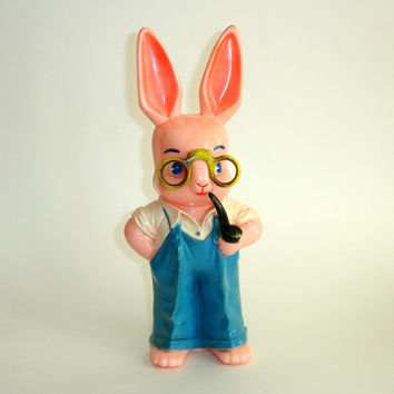Vintage Knickerbocker Bank, Large Pink Papa Peter Rabbit Easter Bunny, Hard Plastic, 1950s Mid Century Collectible,Overalls Pipe Glasses