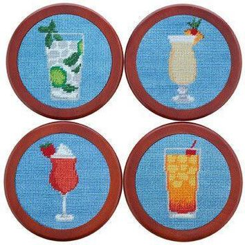 Cocktails Needlepoint Coasters in Light Blue by Smathers & Branson