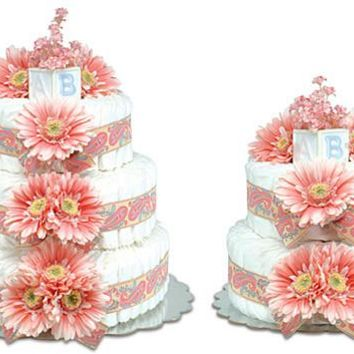 Bloomers Pink Daisies with Paisley Baby Diaper Cake