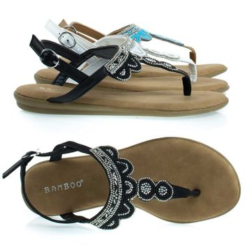 Tundra59 Black By Bamboo, Comfortable Padded Flat Sandal w Tribal Inspired Beads & Rhinestone