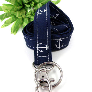 Nautical Anchors Key Keeper Lanyard