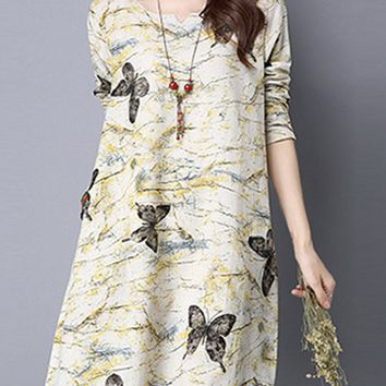 Streetstyle  Casual Butterfly Cotton/Linen Shift Dress