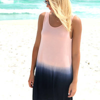 Oceanside Lagoon Navy And Blush Dip Dye Tank Dress