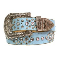Luxury Divas Light Blue Lavish Rhinestone Studded Bling Belt Size Small/Medium