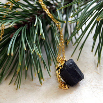 Lump of Coal Necklace - Black Tourmaline Necklace - Raw Black Tourmaline - Christmas Jewelry - Holiday Jewelry