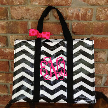 Monogrammed/Personalized Black and White Chevron Tote