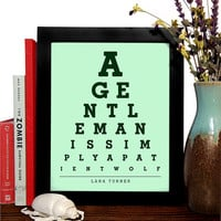 Lana Turner, A Gentleman Is Simply A Patient Wolf, Eye Chart, 8 x 10 Giclee Art Print, Buy 3 Get 1 Free