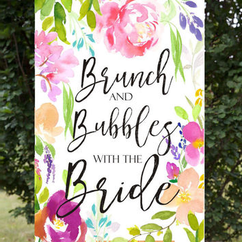 Brunch and Bubbles with the Bride, bridal shower sign, bridal shower poster, personalized bridal shower sign, custom bridal shower poster