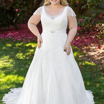 Beaded Country Wedding Dresses Sequins Short Sleeve Tulle White Ivory Tulle Bridal Dress Plus Size Wedding Gowns