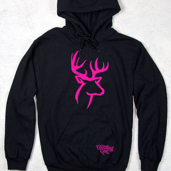 Country Girl® Pink Deer Logo Relaxed Pullover Hoodie