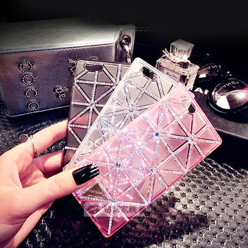"Rhombus Rhinestone case for Apple iPhone 6 case 4.7"" Black/Clear/Pink 6s Plus 5.5 inch Fashion Women's TPU Phone Cases Cover"