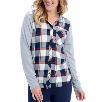 Passport Comfy Plaid Shirt with Hood in Red/Blue