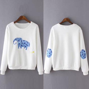 White Elephant Pattern Long Sleeve Sweatshirt