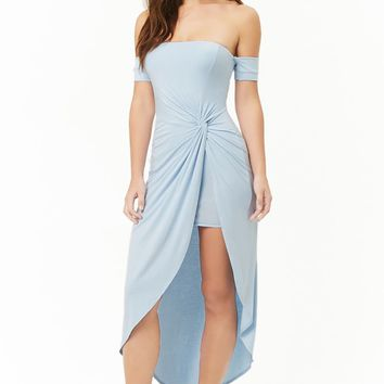 Twist-Front Off-the-Shoulder Dress