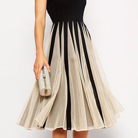 Black & White Sleeveless Mid Dress with Mesh Pleated Skirt
