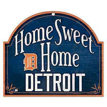 "DETROIT TIGERS HOME SWEET HOME ARCHED WOOD SIGN 10""x11"" BRAND NEW WINCRAFT"