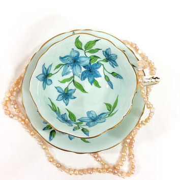 Paragon Tea Cup and Saucer, Large Blue Bell Flowers, Garden Party High Tea, 1960s, English Bone China Porcelain, Vintage