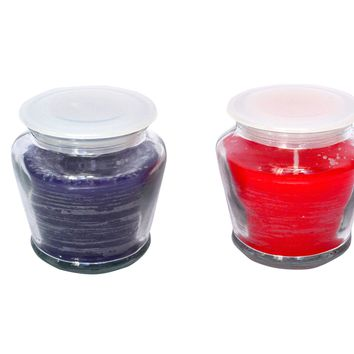 Scented Clear Glass Jar with Lid Filled Candles 24 Hours Burn time Traditional Lavender Rose Fragrance Handmade for Stress Relief & Relaxation Set of 2