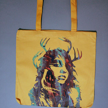 fall colors, colorful tote bag, fall fashion, multicolor, yellow tote, shaman girl, multicolor, yellow canvas tote, canvas tote bag, Unisex