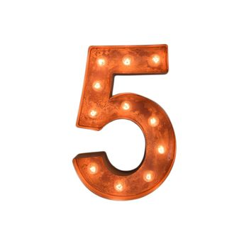 "12"" Number 5 (Five) Sign Vintage Marquee Lights"