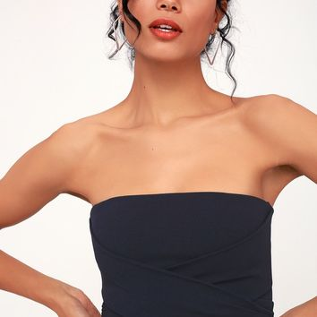 Own the Night Navy Blue Strapless Maxi Dress