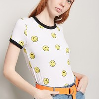 Happy Face Graphic Ringer Tee