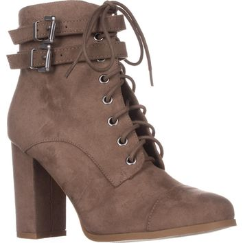 madden girl Klaim Lace Up Combat Ankle Boots, Taupe, 8.5 US