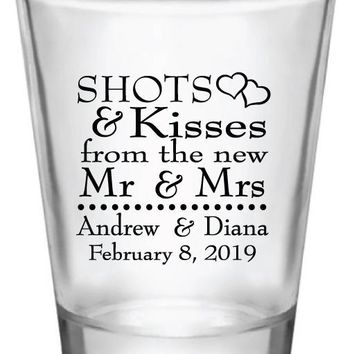 wedding shot glasses, shots and kisses to the new Mr & Mrs, personalized favors
