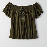 AEO Lace-Up Off-the-Shoulder T-Shirt, Olive