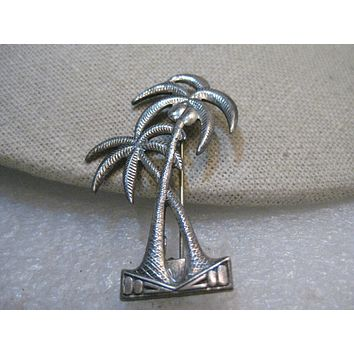 "Vintage Sterling Silver Palm Trees Brooch - Art Deco, 1940's, 2"", 5.12 gr."