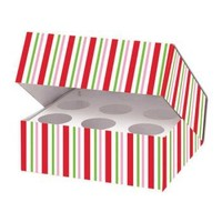 Candy Cane Stripe Cupcake Box Party Accessory