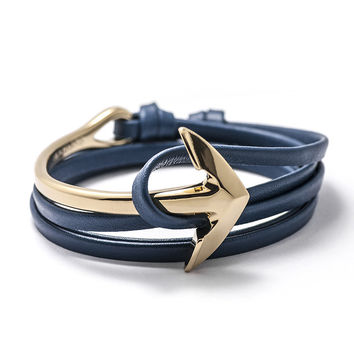 Gold Anchor Half-cuff On Blue Leather Bracelet