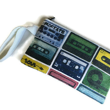 Cassette Tape Clutch Upcycled Tshirt Bag Mix Tape Handbag