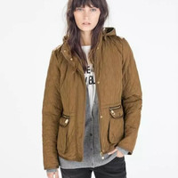 Brown Hooded Zipper Pocket Coat
