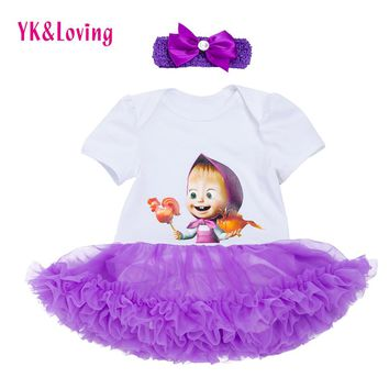 Baby Girls Short Sleeve Dress Purple Ruffle Tutu Dresses Print Pattern Martha and Bears Summer Cotton Children's Party Clothing