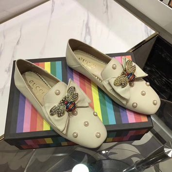 GUCCI Women Trending Fashion Embroidery printing Casual Sneakers Sports Shoes Beige