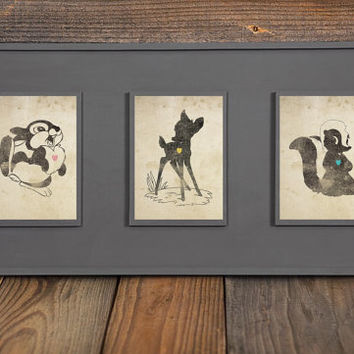 Bambi, Thumper, Flower Inspired Silhouettes: (3) 5X7 Art Prints, With Heart Studios - Disney, Nursery, Gift, Vintage, Poster
