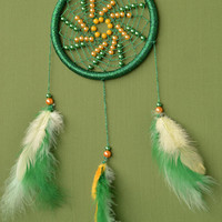 Green glittery Dreamcatcher with Jade gemstone and plastic beads, wall hanging