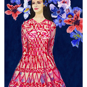 Valentino Moorish Love Floral Giclee Print Watercolor Original Fashion Illustration Artwork