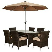The-HOM Bora 8-Piece All Weather Wicker Dining Set Dark Brown with Beige Cushions : Target