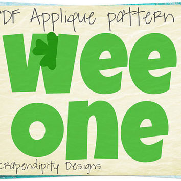 St. Patricks Day Applique Template - Wee One Applique Pattern / Kids Celtic Quilt Pattern / Nursey Wall Hanging / Irish Applique Shirt AP187