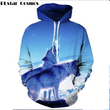 PLstar Cosmos 2017 Fashion Men Women Hoodies Animal Galaxy Wolf 3D print Hoodies Cool Autumn Harajuku style Hoody Sweatshirt