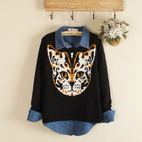 Leisure female face sweater