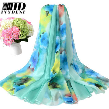 200*150cm 2016 Chiffon Scarf Shawl Vintage Elegant Ladies Long Silk Chiffon Scarf Designers Scarf Women Summer Beach Cover Up