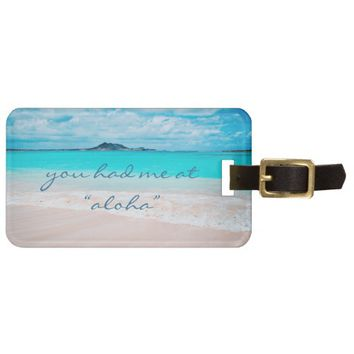 """Aloha"" quote turquoise beach photo luggage tag"