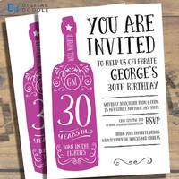 30th Birthday Invitation, 30th Birthday, Birthday Invite, 30 Birthday, Digital, Milestone, Printable, DIY, Invite, Template, Birthday Party