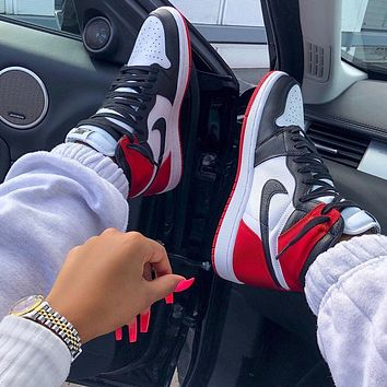 NIKE Women/Men AIR JORDAN 1 High Retro Black Toe Basketball shoes